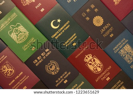 Background from various passports of citizens of many countries and regions of the world