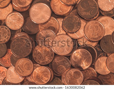 background full of Euro cents, copper coin, one and two cents coin will be dismissed Stock photo ©