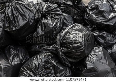 Background garbage bag black bin waste, Garbage dump, Bin,Trash, Garbage, Rubbish, Plastic Bags pile junk garbage Trash texture, Background waste plastic bin bag.