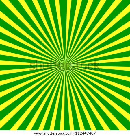 Background. green and yellow radial rays