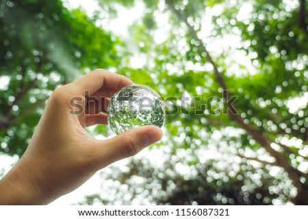background green nature.Love the world.light bokeh.Crystal ball.