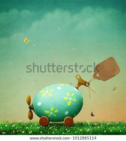Background Holiday greeting card or poster for  Easter with car Easter egg  and Vintage Tag