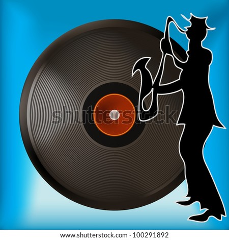 Background illustration of a vintage vinyl record and saxophone player