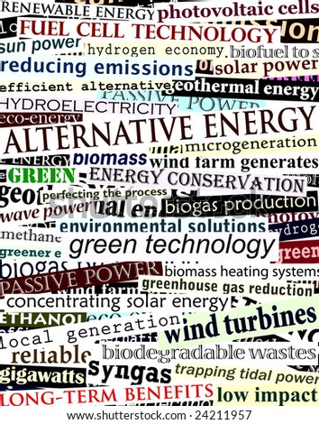 Background illustration of alternative energy newspaper headlines (vector file also available)