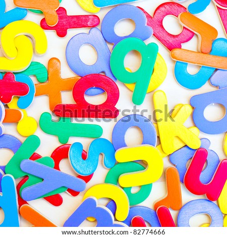 Background image composed of toy letters