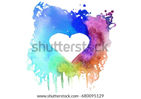 Background image of abstract watercolor spots forming a random shape of different colors with space for text in the form of a heart - Shutterstock ID 680095129