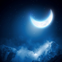 Background image of night sky with moon