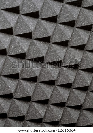 Background image of recording studio sound dampening acoustical foam.