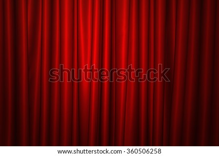 Background image of red velvet stage curtain