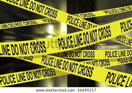 "Background image of several ""police line do not cross"" yellow tape"
