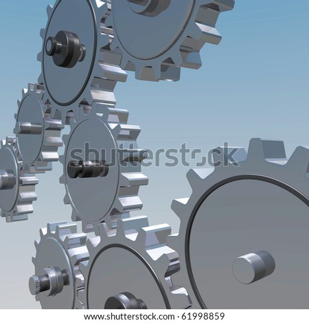 Background image of various 3D gears on a blue background.
