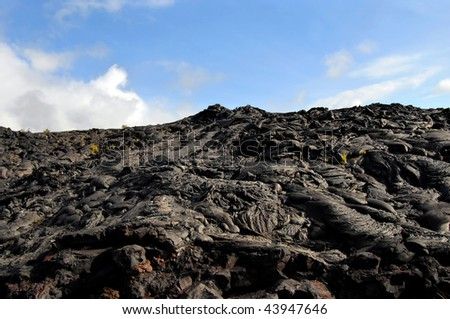 Background image of volcano mountain at Hawaii Volcanoes National Park on the Big Island of Hawaii.  Sunny and blue skies.