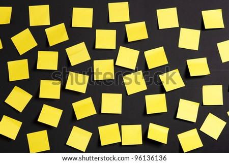 Background image of yellow notes on a black board