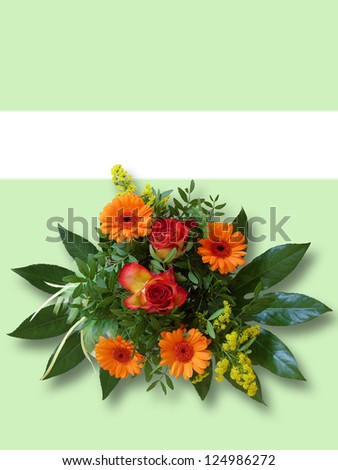 background image with bouquet of flowers and copy space