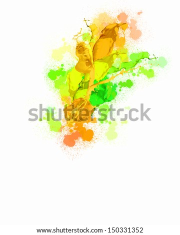 Background image with colorful splashes and drops