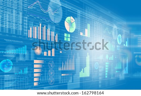 Background image with media screen. Diagrams and graphs