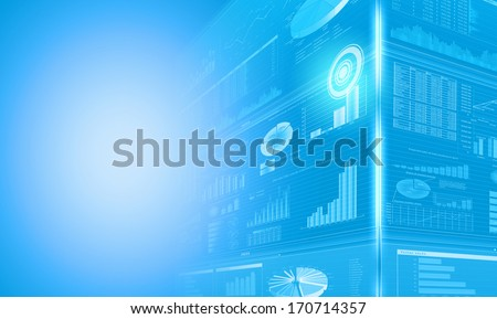 Background image with media screen Diagrams and graphs