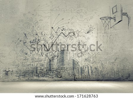 Background image with sketches and drawings on grey wall