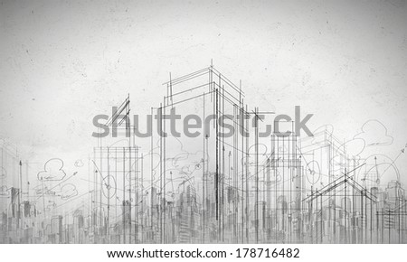 Background image with urban construction sketch on white background