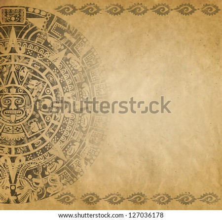 Background in American Indian Style with Mayan calendar on old paper - stock photo