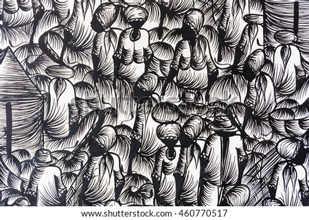 Background in black and white with people at the market design. graphic resource. the crowd concept, assemblage, typical of Latin cities, Muslim, Mediterranean. casbah typical.