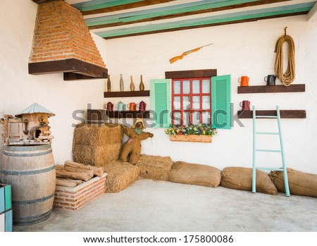 background interior design of an old country house, decorating the room inside the fireplace