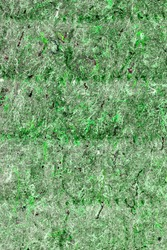 Background is green felt cloth, the texture of the material with the pile threads