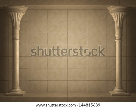 Background is two ancient columns. High-resolution 3D render