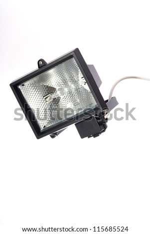 background isolated floodlight security lamp.