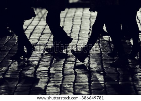background legs silhouettes people crowd pedestrians city