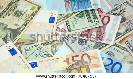 Background made from euro and dollar banknotes