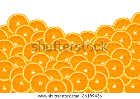 background made of a close-up of oranges on a white background