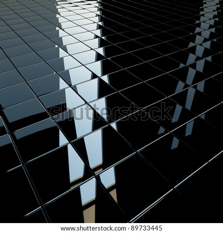 Background made of black flat glossy cubes with strong reflection. High resolution 3d-rendering, square format - stock photo