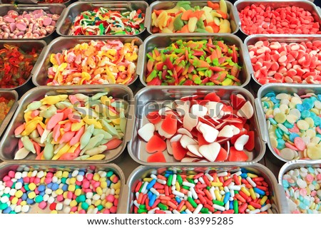 Background made of colorful sweets and candies