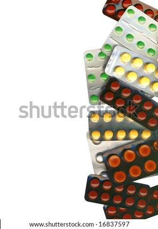 Background made of different pills, with clipping path