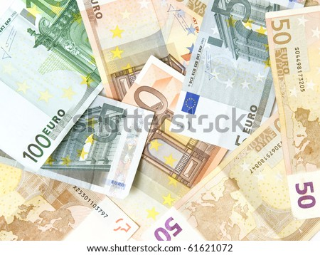 Background made of EURO money, a lot of Euro on a white background