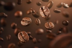 Background made of falling down fresh coffee beans with copy space
