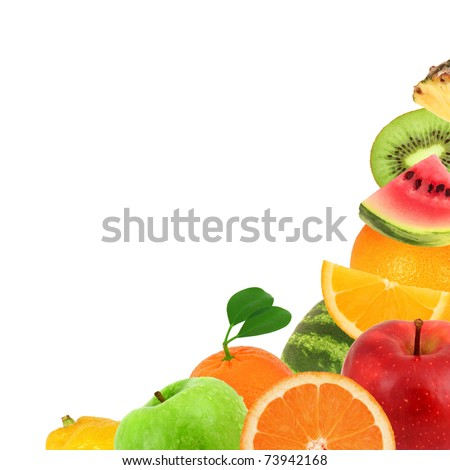 Background made of fruit isolated on white