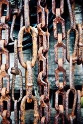background made of old rusty chains