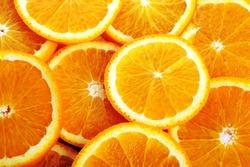 background made of sliced juicy oranges