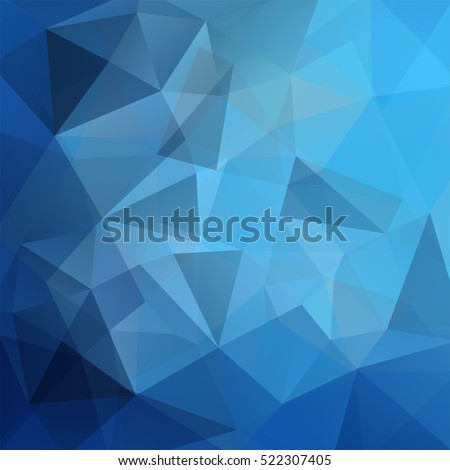 Background made of triangles. Square composition with geometric shapes. Blue color.