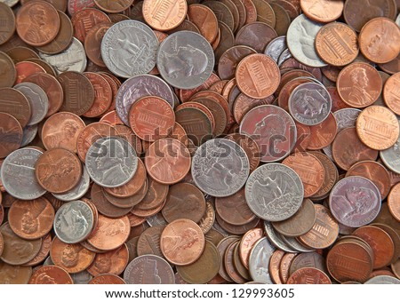 Background made of various US coins