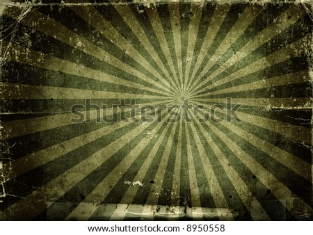 Background made with old textured paper with light rays