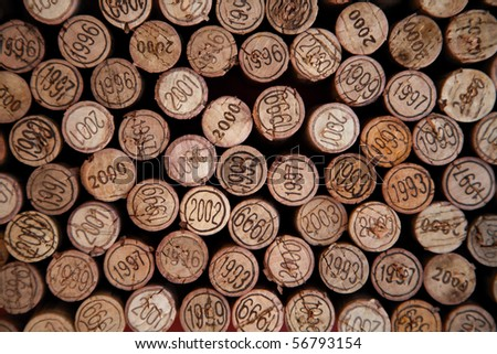 Background made with wine corks with dates