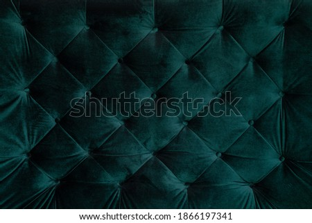 background malachite green teal velvet capitone textile, suede, velor, with buttons, sofa back. Close up photo Foto stock ©