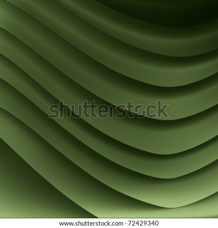 background monochrome macro image of a green paper origami pattern made of curved shapes.
