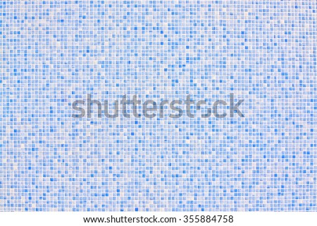 Background mosaic wall in blue color for copy space backdrop.