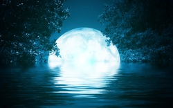 Background night landscape. The night sky, the full moon. Reflection of the moon on the water.