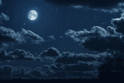 background night sky with  moon, stars and clouds