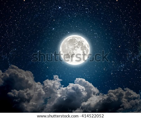 background night sky with stars, moon and clouds. Elements of this image furnished by NASA #414522052